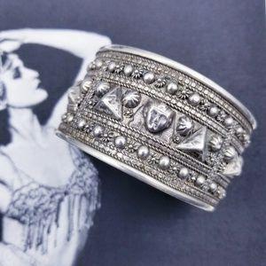 Vintage 800 Silver Egyptian Revival Cuff Bracelet